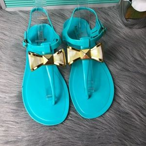 Kate Spade Gold Bow Turquoise Jellies Sz 9 GUC